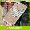 Lovely heart shaped diamond bling leather flip case for lenovo a390