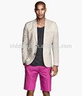 2014 fasion style 100% cotton fabric classic white men's blazer