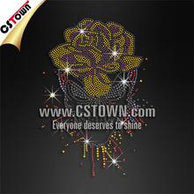 Rose skull cool hot fix transfer wholesale rhinestone accessories