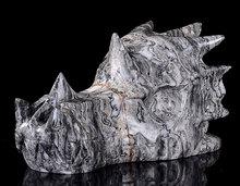 "5.91""Natural Black Lace Carved Dragon Skull Crystal #1A65"