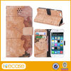 Shockproof durable fashion flip leather map pattern case for iphone 6