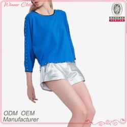 ladies brand factory direct long sleeve rivet decorate fashion chiffon lady top designer