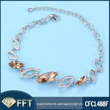 Hot sale champagne crystal 925 sterling silver bracelet