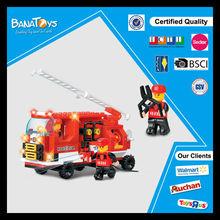 Funny custom cartoon block toy aerial ladder fire truck