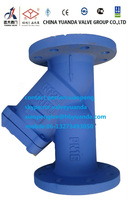 Y strainer with flange connection ss screen iron body