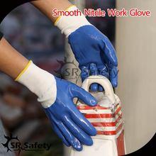 SRSAFETY 13G Knitted nylon coated blue nitrile gloves/industry nitrile gloves