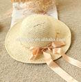 paja de papel sombreros de sol ala gran sombrero de paja de la cinta bowknot sombrero de paja