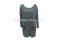 2015 spring ladies casual cotton & PU pullover