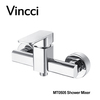 Vincci Bathroom Wall Mounted Exposed Square Brass Chrome Shower Tap Mixer