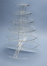 7 Tiers Plantic Cake Stand Round Acrylic Plates Cupcake Display with Colums for Festivals