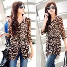 New Fashion Women Elegant Women Leopard Print Shirt Fit Slim Lace Elasticity Half Sleeve Chiffon Blouse SV001430