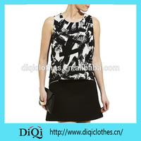 2015 short Sleeve Scratch Print Shell Top Women Tshirt