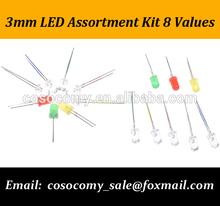 3mm LED Assortment Kit 8 values light emitter diodes