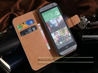 Luxury Genuine Leather Case Soft Slim Pouch Etui Wallet Stand Case Cover for HTC ONE M8