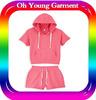Custom design women and children clothes wholesale price hoody summer wear hoody set plain jiangxi garment