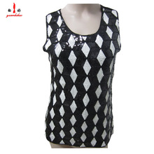 elegant office lady white and black bead pattern tops for summer