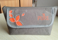 fashion EN 71 EU standard grey Organic cotton cosmetic bag with mirror export French market 2014