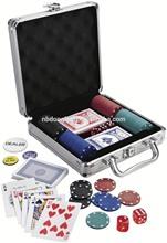 100pcs Poker Set In Silver Aluminum Case, Round Corner