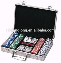 200pcs Poker Set In Silver Aluminum Case w/logo Round/squre Corner