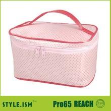 Zip lock handle pink travel cosmetic bag