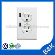 grounding wall tap double usb outlet car charger home decoration and material