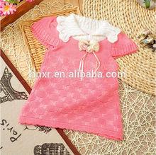 2014 çocuk giyim kız kısa kollu örgü elbise tığ işi bebek giysileri