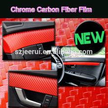 1.52* 30m 3d chrome couleur rouge en fibre de carbone en fibre de carbone de vinyle a changé de couleur et de protéger la peinture d'origine