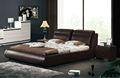 2014 de alta qualidade cama de couro foi feito de moldura de madeira sólida e couro genuíno para da mobília do quarto