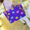2014 wholesale fashionable nylon trendy lip patterned tote beach bag