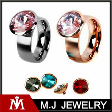 2014 New Round Stainless Steel 4 Colors Crystal Changeable Rings Wedding Party Fashion Ring Women