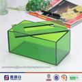 Vendita calda coperchio aperto acrilico verde tovagliolo acrilico& scatola del tessuto