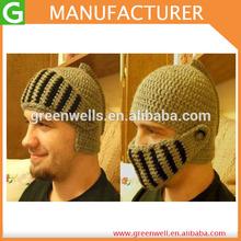 2014 Hot Selling Knitted Men's Helmet Hat Pattern Knit Hat Knit Helmet