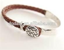 High end brown leather western unisex silver bracelet