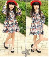 2014 fashion spring new korean style printed children long sleeve dress for girls