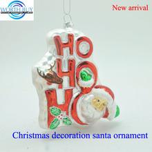 "Haning ""OH"" ornament w/ Santa & rain deer head for Christmas decoration, Christmas glass pendant"