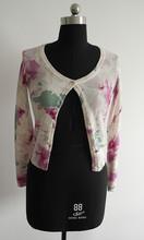ladies flower printed short cardigan sweater