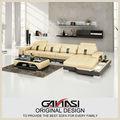 Amarelo sofá reclinável de couro, sala de estar sofá de canto de mesa de café