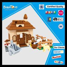 2015 New child plastic toy happy farm building blocks