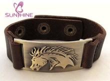 Sunshine Jewelry Horse Leather Bracelet, Adjustable