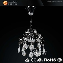Small stained crystal raindrop chandelier decoration for living room, modern crystal pendant light OM88153