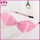 Custom design pink fur fabric large bow headband