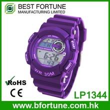 LP1344_PU Purple color LCD Display Chrono Alarm Date/Day Tech digital Multifunction Digital electronic watch