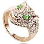 animal shaped jewelry swarovski element crystal leopard sexy gold ring
