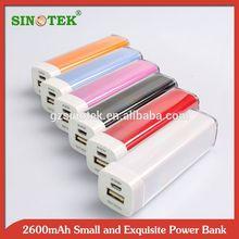 SINOTEK plastic case Cheap 2600mah smart mobile power bank
