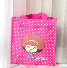 recycled cute cartoon pink non woven shopping bag wholesale silk screened cartoon non woven bag on promotion
