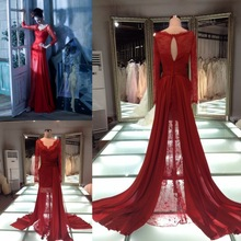 2014 latest v-neck long sleeve see through sexy lace evening dress pattern/long train red lace prom evening dresses