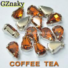 8x13mm Coffee Tea shaped sew on crystal teardrop