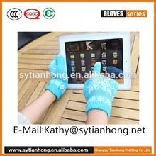 Unisex cheap wholesale knitting jacquard acrylic winter warm texting gloves