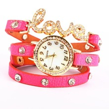 unisex watches, love word leather strap bangle fashion watches