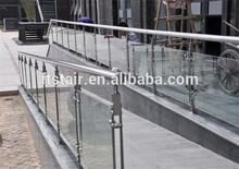 outdoor veranda/corridor use stainless steel railings/tempered glass railing